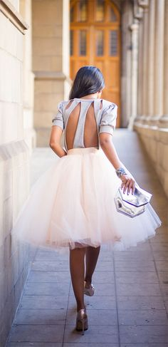White Plain Draped Grenadine New Fashion Latest Women Puffy Tulle High Waisted Knee Length Adorable Tutu Skirt - Skirts - Bottoms