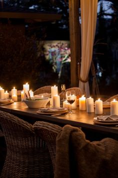 Outdoor entertaining by candlelight