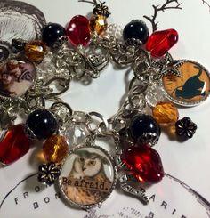 HALLOWEEN ~OWL~BE AFRAID~ altered art charm bracelet~ Handmade,ONE OF a KIND #handmade #alteredartmixedmedia