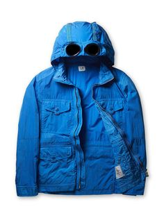Company Chrome Goggle Parachute Hood Panelled Field Jacket in Blue Field Jacket, Layers, Chrome, Menswear, Coat, Awesome, Casual, How To Wear, Jackets