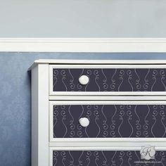 The dainty design of our Gigi Scroll Modern Furniture Stencils decorates dressers and tables with contemporary yet subtle pattern- also super cute in a nursery!