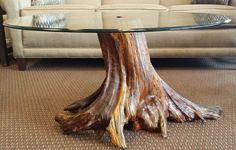 Solid Tree Trunk Glass Coffee Table | The Best Wood Furniture