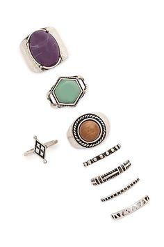 Faux Stone Ring Set
