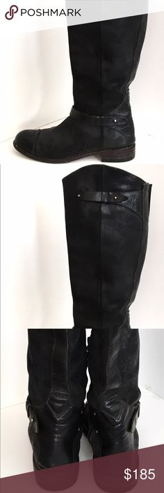 """Rag & bone abbey tall riding boots Sz 41 11  $795 distressed leather riding boots Buttoned strap at asymmetrical top line and at ankle.  Hidden partial zip at inner side. Rubbed toe cap. Stacked heel and leather sole.  * Heel: 1"""" * Shaft: 16""""  * Circumference: 15""""  * Leather: Llama.  Pre-owned.  Uppers very good w minor signs of use, minor creasing, a few l smudges/scuffs.  Outsoles have more wear; see photos.  We have had heels professionally replaced so they have a lot more life in them…"""