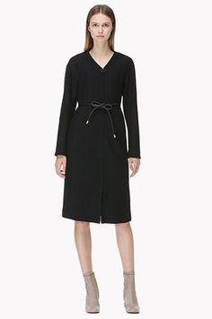 [TIME] Leather ribbon belted dress