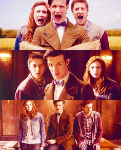 The scene for the bottom one, when Mels regenerates and Amy and Rory are like there are no words for how weird this is for us