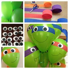 TMNT balloons.  Fun and easy to make.