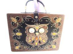 Enid Collins Texas 1963 Orig Signed Box Bag Night Owl,Wood Purse Handbag Kitch  #EnidCollins #WoodBoxBag