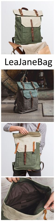 Handmade Canvas Backpack, Travel Backpack, School Backpack NX007