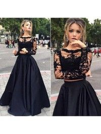 Scoop Neck Black Tulle Elastic Woven Satin Appliques Lace Long Sleeve Two Piece Prom Dress#DGD020102335