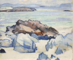 SJ Peploe, Rocks, Iona, Oil on Board - The Scottish Gallery, Edinburgh - Contemporary Art Since 1842 Peploe is my favoutite colourist artist. I love the colours he uses and the flat strokes he uses in his work. Seascape Paintings, Landscape Paintings, Love Painting, Beach Art, Beautiful Paintings, Traditional Art, Painting Inspiration, New Art, Find Art
