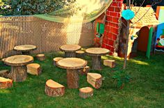 tree stump ideas | What a spectacular setting of wood tree stump tables and stools for ...