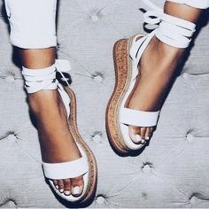 Summer Black Wedge Sandals Women Espadrilles Open Toe Gladiator Sandals Women Casual Lace Up Women Flat Platform Sandals White Wedges, Lace Up Wedges, Lace Up Shoes, Cute Shoes, Women's Shoes, Me Too Shoes, Shoe Boots, Shoes Style, Flat Wedges