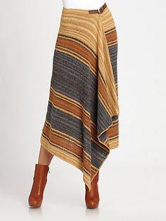 Ralph Lauren Blue Label - Striped Linen/Silk Wrap Skirt - Saks.com