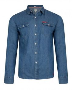 Quality slim fit denim shirt by Lee Cooper with full-length sleeves. The shirt fastens with regular buttons. The style features double chest pocket with button fasten.