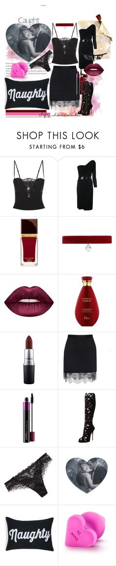 """""""Fifty Shades Darker"""" by littlediva ❤ liked on Polyvore featuring Dsquared2, Tom Ford, Joomi Lim, Lime Crime, MAC Cosmetics, Carven, Giuseppe Zanotti, Lise Charmel, Alexandra Ferguson and Lascivious"""