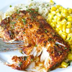 Cod filets are rubbed with a flavorful spice mixture before roasting to perfection. Top this roasted chili-lime cod is with a delicious lime-butter sauce! Best Fish Recipes, Tilapia Fish Recipes, Salmon Recipes, Diet Recipes, Cooking Recipes, Healthy Recipes, Easy Cod Recipes, Healthy White Fish Recipes, Simple Fish Recipes