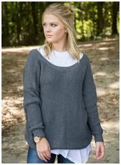 Deep v back sweater in charcoal