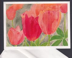 Blank Note Card  Orange and Red Tulips by TheElderberryBlossom, $3.75