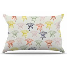 East Urban Home Rainbow Poppies by Gukuuki Pillow Sham Size: Standard