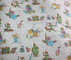 An amazing made in France Disney's Robin Hood vintage flat bed sheet #disney  #ebay
