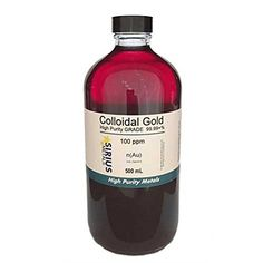 True Colloidal Gold (No Chemicals) – 500 mL of 100 ppm BPA Free plastic Colloidal Gold, Plastic Tags, Metals, Healthy Life, The 100, Herbs, Free Shipping, Top, Color