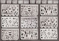 "White Mexican Wedding Banner. Also known as Papel Picado, our authentic banner has 5 different designs, 10 dangling panels, and is 13 feet long. Each delicately cut-out paper panel is 9"" x 13"". This traditional, decorative paper banner is handmade by artisans in Mexico."