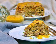 Τεμπάλ, τιμπάλ ή timballo λαζάνια με σπανάκι, μανιτάρια, λαχανικά, προσούτο & μπεσαμέλ. Για ιδαίτερες περιστάσεις, η πλούσια πίτα ζυμαρικών της Αναγέννησης. Bechamel, Prosciutto, Frozen Yogurt, Fried Rice, Wine Recipes, Risotto, Bacon, Brunch, Pork