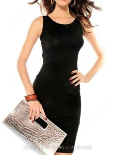 Black Sexy Sleeveless Knee-Length Dress -$20.69