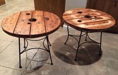 Spool top side tables made from a spool that was set out to go to the dump and old ice cream parlor chairs as the base.