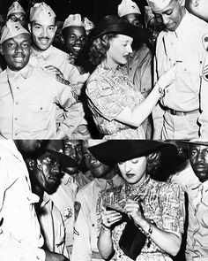 Bette Davis signs autographs for soldiers at the Hollywood Canteen. Davis often took heat for her stance on an integrated military.