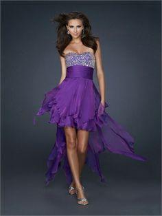 High-Low Beaded Sweetheart Neckline Gathered Wasitband Chiffon Prom Dress PD10866 www.dresseshouse.co.uk £90.0000