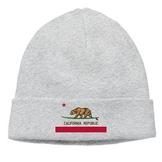 Surfing California Bear Cali Flag Ash Cool Watch Beanie Hat Knit Hat -- Learn more by visiting the image link. (Note:Amazon affiliate link)