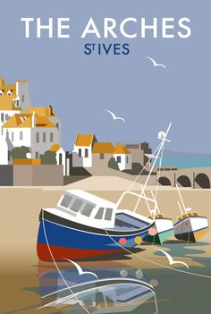 / the arches / st ives / contemporary travel art by dave thompson / Posters Uk, Railway Posters, Art Deco Posters, Cool Posters, Poster Prints, Art Prints, British Travel, British Seaside, Tourism Poster
