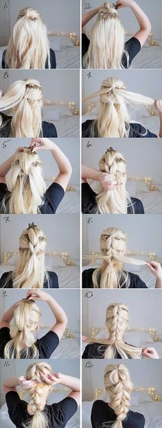 The chunky braid easy hairstyles step by step hairstyles hairstyle tu Braid Hairstyles, Pretty Hairstyles, Perfect Hairstyle, Simple Hairstyles, Hairstyles 2016, Hairdos, Teenage Hairstyles, Medium Hairstyle, Layered Hairstyles