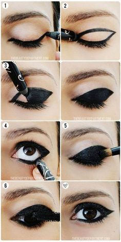 How to put on eyeliner like a pro ? Eyeliner is an essential item in your makeup bag as it not only complements your mascara to give your eyelashes a fuller, thicker, and healthier look, but also give. Maquillage Halloween, Halloween Makeup, Halloween Cat, Holiday Makeup, Christmas Makeup, Cat Costume Makeup, Sexy Cat Costume, Crow Costume, Mime Makeup