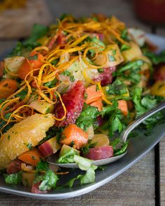 Carrot Citrus Chopped Salad. Packed with blood oranges, meyer lemon and rainbow carrots, this chopped salad is full of winter's best. | @crispcooking #createwithcrisp