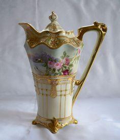 Nippon Morimura Porcelain Gold Hand painted Coffee Chocolate Pot