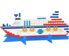 Set sail for an ocean voyage on this detailed cruise ship! Simply connect two large square Perler pegboards to create a larger workspace. The stands are also part of this project so you can display your ship on a shelf or bookcase.