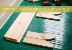 Make a bench in one afternoon  credit: Sarah Rhodes for A Beautiful Mess [http://www.abeautifulmess.com/2013/03/joshs-homemade-bench.html]