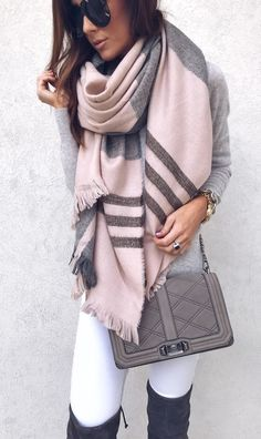#winter #outfits pink and gray scarf