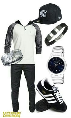 Men's black white casual outfit