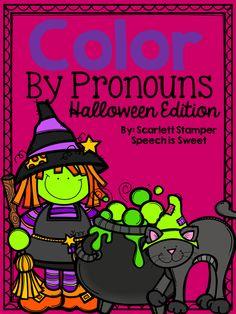 Color By Pronouns: Halloween Edition - Speech is Sweet Pronoun Activities, Speech Therapy Activities, Language Activities, Speech Language Pathology, Speech And Language, Language Arts, Grammar And Punctuation, Receptive Language, School Stuff