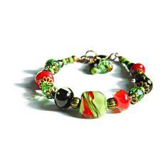 Chili Handmade Lampwork bracelet Spicy Red-Green-Black Boho bracelet... (140 ILS) ❤ liked on Polyvore featuring jewelry, bracelets, integritytt, bohemian jewelry, boho style jewelry, glass bead jewelry, boho jewelry and boho jewellery
