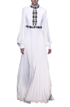 Andrew GN - Embellished evening silk gown Crystal Beads, Glass Beads, Women's Evening Dresses, Silk Gown, Cocktail, Gowns, Coat, Long Sleeve, Sleeves
