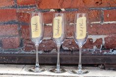 Give a special gift from you to your bridesmaids with our custom engraved champagne glasses! // By Let's Tie The Knot on Etsy // www.letstietheknot.etsy.com // Photography by Loud Love Photography