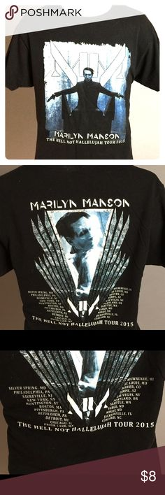 "Marylin Manson Vintage custom Tee shirt. TOUR 2015 Rock hard in this unisex Size L vintage tee. Marylin Manson your ""Hello not Hallelujah"".  All tees in my closet are nicely vintage worn, soft and have small original ""markings"" and such from wear.  Vintage Black tee shirts are usually faded to some degree. Vintage gear with a stylish edge. Rock it back to life wearing this one-of-a-kind shirt.   Marylin Manson Tour Other"