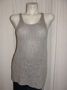 NEW PHILOSOPHY Size M Graystone Scoop Neck Sleeveless 100% Cotton Knit Top #PHILOSOPHY #KnitTop #Casual