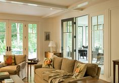 Living Room and Sun Room Entry - traditional - living room - portland maine - Whitten Architects