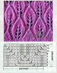 Embossed vine and leaves chart, fun pattern to knit. Techniques used: Knit and Purl, Yarn over, SSK, Lace Knitting Stitches, Lace Knitting Patterns, Knitting Charts, Lace Patterns, Knitting Designs, Stitch Patterns, Diy Crafts Knitting, Easy Knitting, Loom Knitting